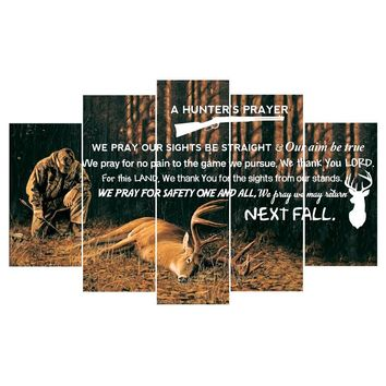 Hunters Prayer Deer Hunt Wildlife Five Piece Canvas Wall Art
