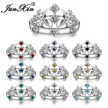 JUNXIN Luxury Female Crown Ring White Gold Filled Jewelry Fashion Wedding Rings For Women Birth Stone Gifts