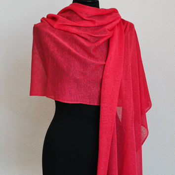 Coral red long linen scarf | Knit linen scarf wrap | Linen wrap | Linen minimalist scarf | Knit summer scarf | Coral red scarf | MARLI Coral