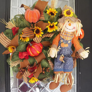 Deluxe Fall Wreath, Front Door Wreath, Deco Mesh Wreath, Fall Decoration, Door Hanger, Wreath for Door, Ready to Ship