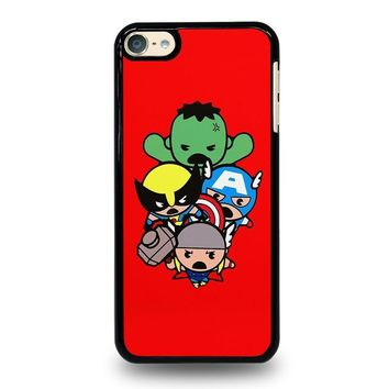 kawaii captain america hulk thor wolverine marvel avengers ipod touch 6 case cover  number 1