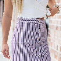 It's All Love Striped Skirt: White/Navy