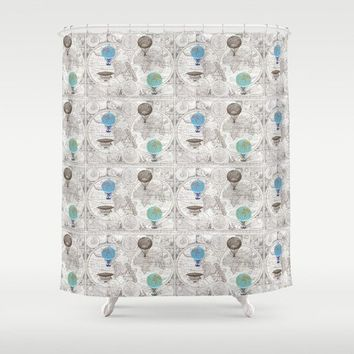 Hot Air Balloon Pattern Shower Curtain - map - derigibles globes, travel decor, Bathroom maps, brown, beige, blue
