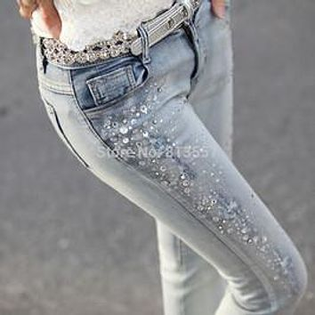 2016 Spring New Female Hole Jeans Beading Rhinestones Slim Feet Pencil Pants Jeans Women