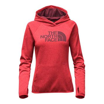 The North Face Fave Half Dome Pullover Hoodie for Women in Melon Red Light Heather NF0A2THV-MJQ