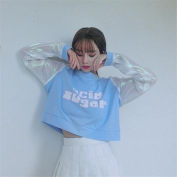 2017 Japanese Autumn Fashion Thin Sweet Hoodies Letter Printed Patchwork Women Crop Top Long Sleeve O-neck Sweatshirts 41152
