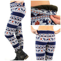 Reindeer Games Navy Leggings - One