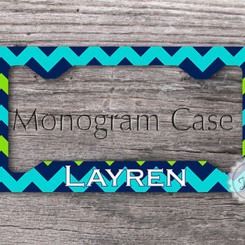 License plate frame - Tricolor Mixed chevron with initial name or monogram, personalized auto frame - 021