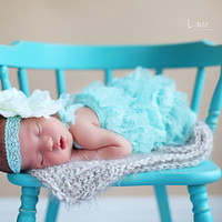 Lace Petti Romper and headband setHeadband by snazziebabyboutique