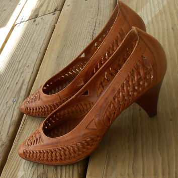 Vtg 80s Braided Gladiator Leather Oxford Flats Woven Grunge Huarache Hippie Festival Hurache Hippie Boho Shoes Sandal Stacked Heels 7 6.5
