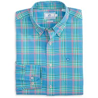 Beaufain Plaid Sport Shirt in Boat Blue by Southern Tide
