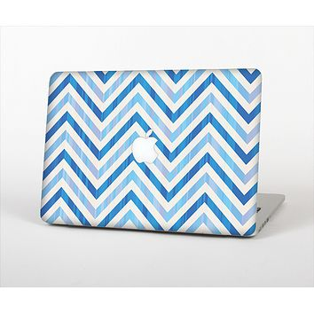 The Vintage Blue Striped Chevron Pattern V4 Skin Set for the Apple MacBook Air 13""