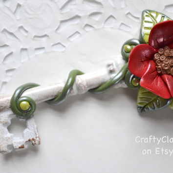 Polymer Clay Decor - Polymer Clay Flower - Key Decor - Spring Decor - OOAK Key - Bridesmaid Gift - Wedding Favor - Anniversary Gift
