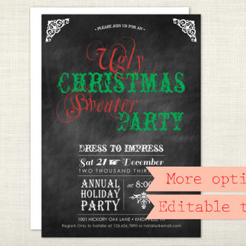 PREMIUM - Ugly Christmas Sweater Party Invitation, Chalkboard, Holiday Party, Red, Green - digital file, printable