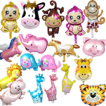 19 type cartoon baby KT balloons bear horse animal balloon heart sunflower foi balloon 40*30cm party cartoon decoration