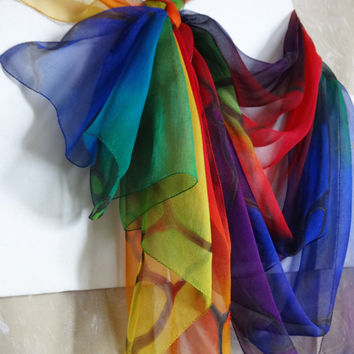 Rainbow silk chiffon scarf Hand-painted square scarf Colorful painted shawl Silk handpainted Scarf multicolor Summer scarf 83x83cm 33x33""