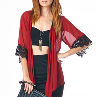 Burgundy Kimono with Crochet Cuff and Hemline