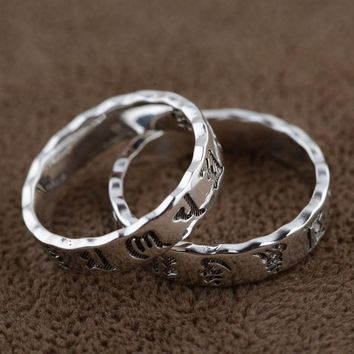 Silver Rings Six Word Mantra for Women