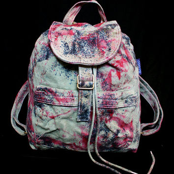 "Hand Dyed BAGGU Backpack, Sage ""Magmatic Earthquake"" Pattern"