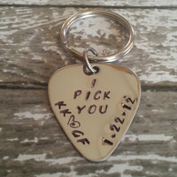 Custom Guitar Pick with KeyChain  - Personalized Stainless Steel Hand Stamped Guitar Pick - Mens Gift