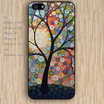 iPhone 5s 6 case abstract tree watercolor dream catcher colorful phone case iphone case,ipod case,samsung galaxy case available plastic rubber case waterproof B616