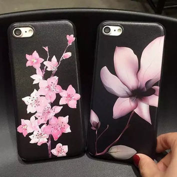 Fashion Peach Lotus Flowers Phone Case For iphone 7 Case For iphone 7 7 Plus 6s 6 Plus 5s 5 SE Peach Blossom Soft Phone Cover -0405
