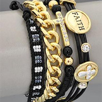 Cross Wrap Charm Bracelet Faith Bead Rhinestone Leather Black Gold Chain Trendy Religious Costume Jewelry