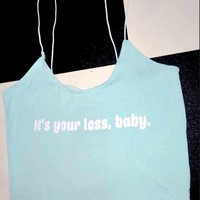SWEET LORD O'MIGHTY! YOUR LOSS SKINNY TANK IN MINT