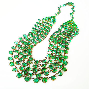 Emerald Green Crystal Necklace Multi Strand Art Deco Style Vintage Jewelry