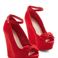 ModCloth Statement Front Bow Seat Wedge