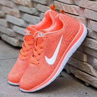 """Nike"" Fashion Breathable Sneakers Sport Shoes orange knit"