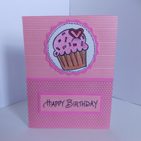 Happy Birthday! - Pink Birthday Greeting Card with Pink Cupcake and Stripes - For Her - Brithday Wish