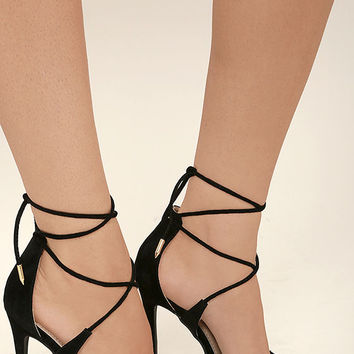 Dani Black Suede Lace-Up Heels