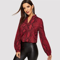 Office Ladies V Neck Snake Print Blouse Office Lady Long Sleeve Shirt Womens Tops