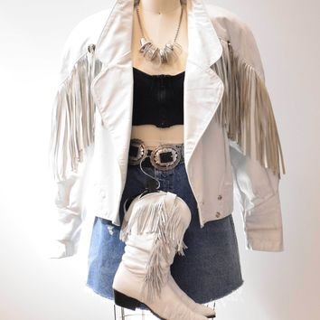 White Leather Fringe Jacket MOTO Vintage Southwestern Motorcycle Jacket Women's Coat Size Large