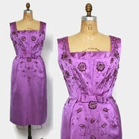 Vintage 60s Cocktail Dress / 1960s Purple Beaded Sequin Satin Wiggle Fit Sheath Dress