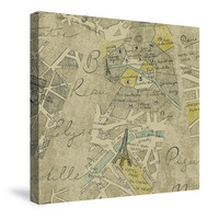 Mapped Out (Graphite) Canvas Wall Art