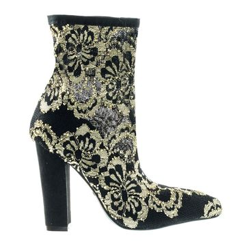 Madam13 Gold Black By Bamboo, Heel w Elastic Sock Floral Lace Ankle Bootie w Pointed Toe