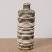 Light Taupe Striped Tall Vase