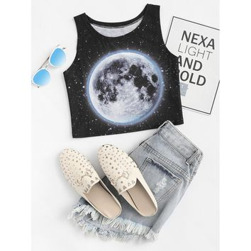 Galaxy Print Crop Top