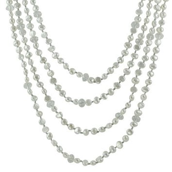 """Imperial Pearl: 100"""" 6-7mm Baroque White Freshwater Pearl & Clear Glass Bead Necklace on Silver String"""