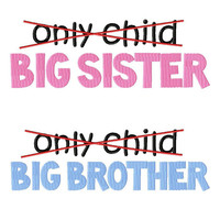 Not Only Child, Big Brother or Big Sister tee shirt