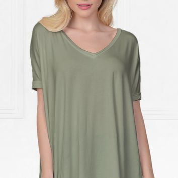 Piko 1988 Bamboo Olive Green Short Dolman Sleeve V Neck Piko Bamboo Basic Loose Tunic Tee Top