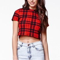 Renamed Quilted Plaid Cropped Top - Womens Tee - Red