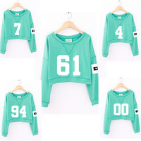 2016 new women kpop exo mint green summer short paragraph thin hooded fashion exo albums clothing girls long-sleeved sweatshirt