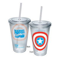 Captain America Shield Travel Cup With Straw