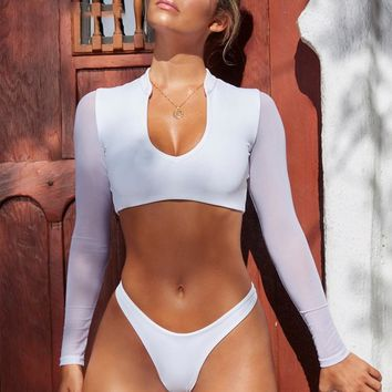 Two pieces long sleeve women swimsuit Beach wear  swimsuit female High cut padded v-neck swimwear bathsuit
