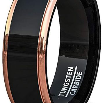 Men's Two Tone Black Tungsten Wedding Band With Rose Gold Step Edge Comfort Fit - 8mm