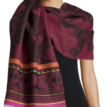 Berbero Paisley Wool/Silk Scarf, Cranberry, Size: 26, red - Etro