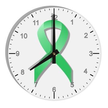"Celiac Disease Awareness Ribbon - Light Green 8"" Round Wall Clock with Numbers"